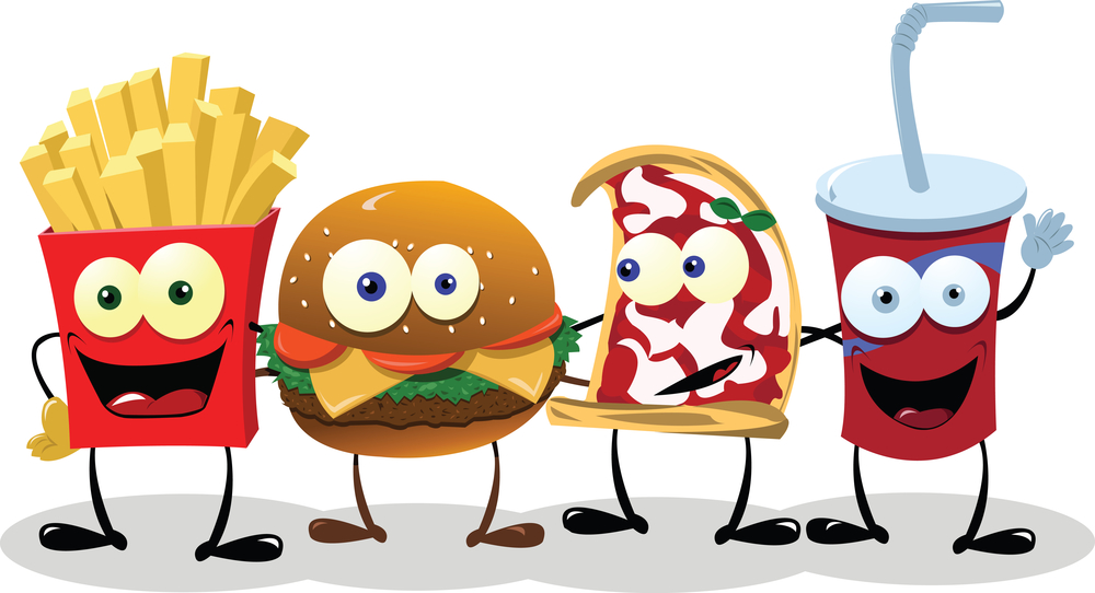 A group of friendly Fast Food meals